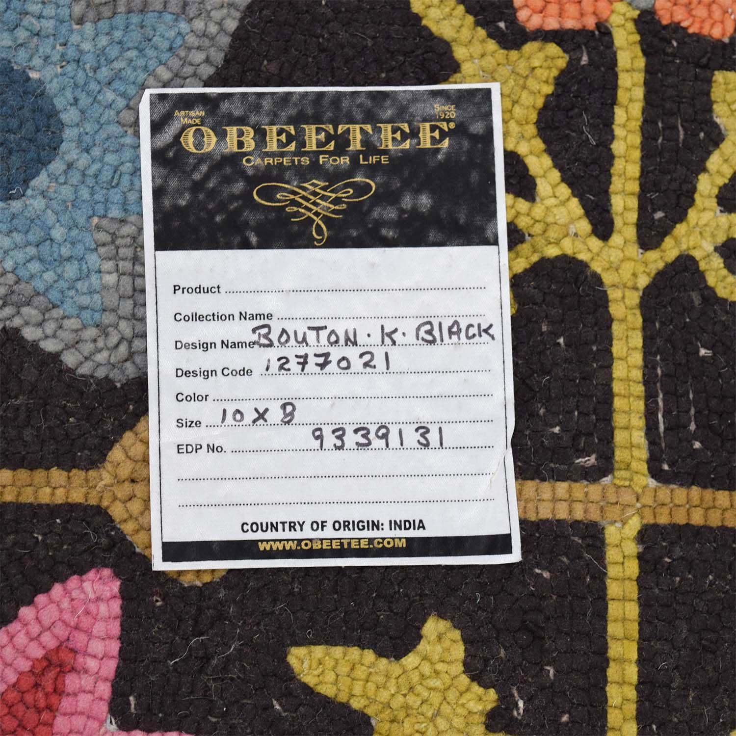 Obeetee Obeetee Black with Multi-Colored Floral Rug Black/Yellow/Blue/Pink/Red