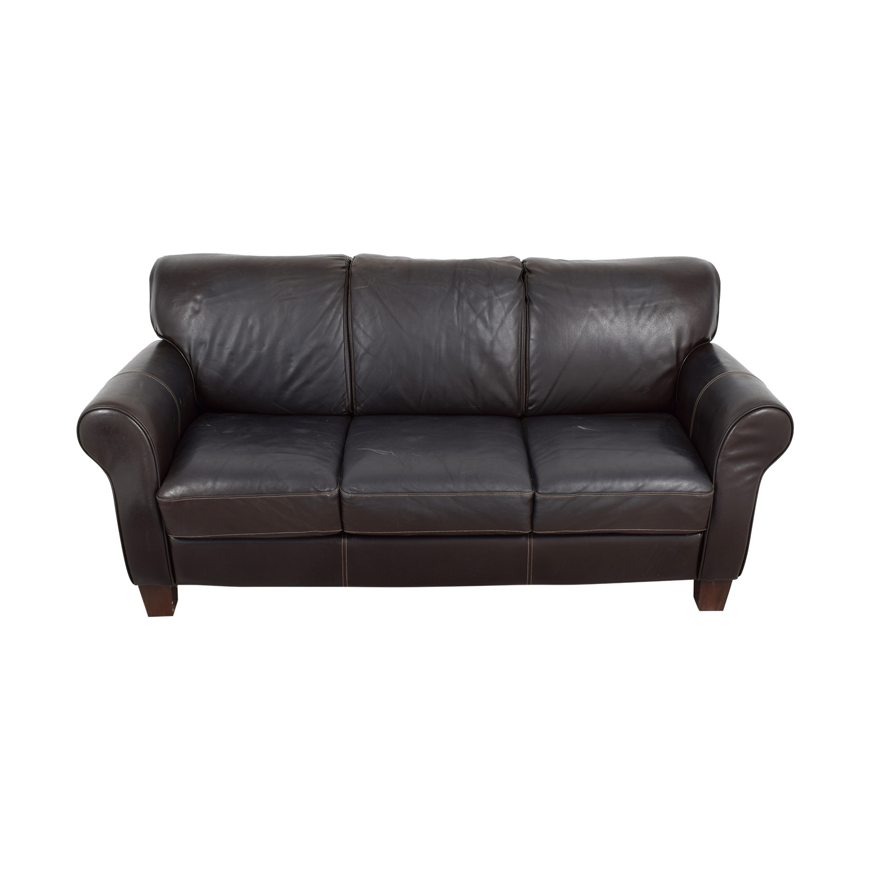 Raymour and Flanigan Brown Leather Three-Cushion Sofa / Classic Sofas