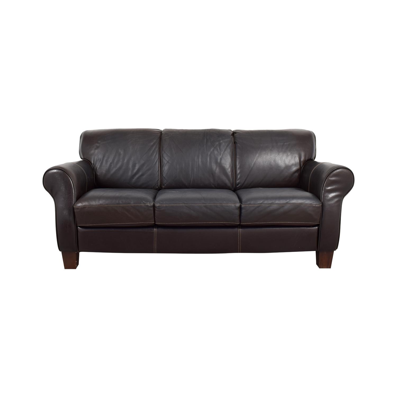 shop Raymour and Flanigan Raymour and Flanigan Brown Leather Three-Cushion Sofa online