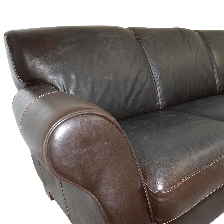 Raymour and Flanigan Raymour and Flanigan Brown Leather Three-Cushion Sofa Classic Sofas