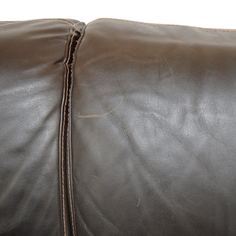 Raymour and Flanigan Brown Leather Three-Cushion Sofa / Sofas