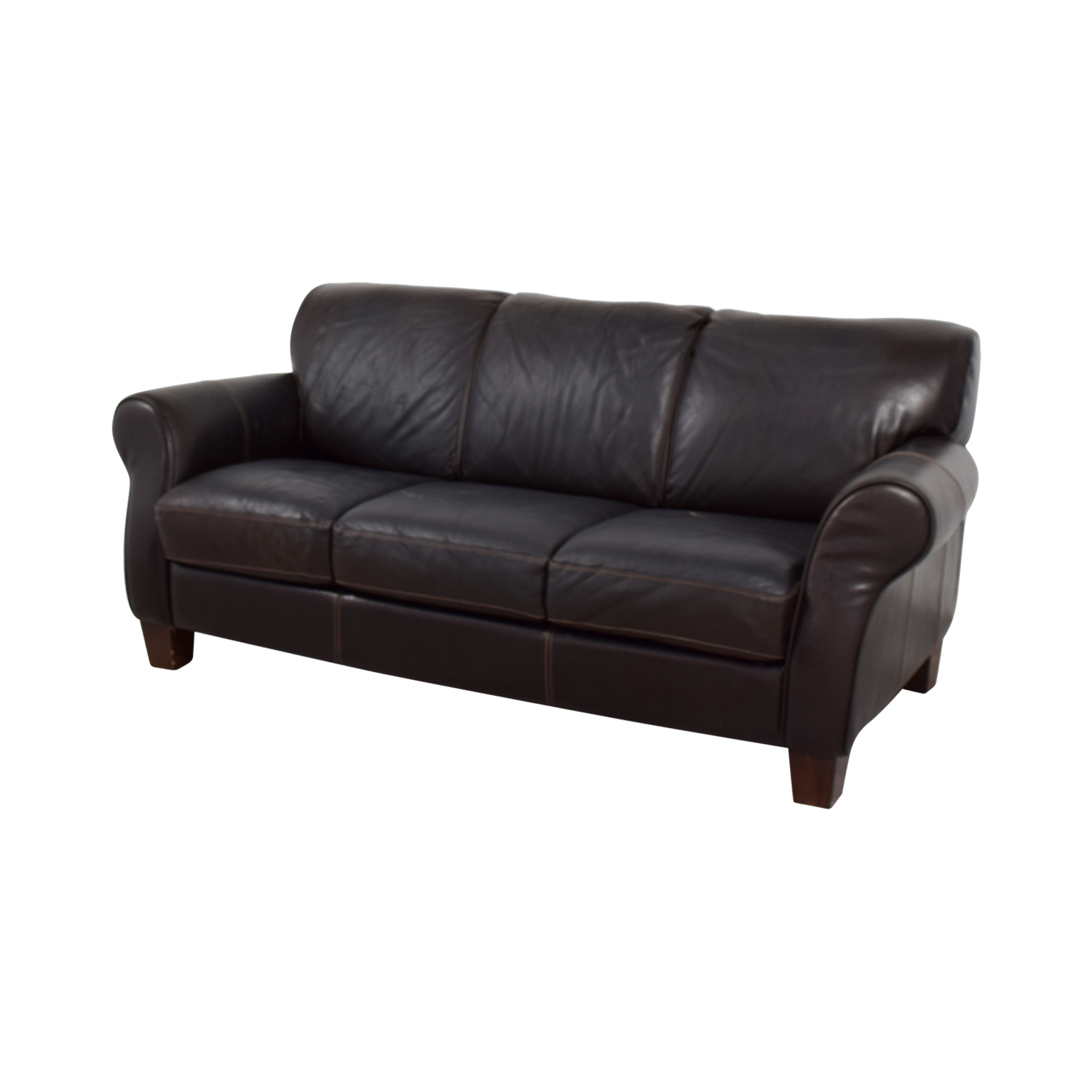 shop Raymour and Flanigan Brown Leather Three-Cushion Sofa Raymour and Flanigan Classic Sofas