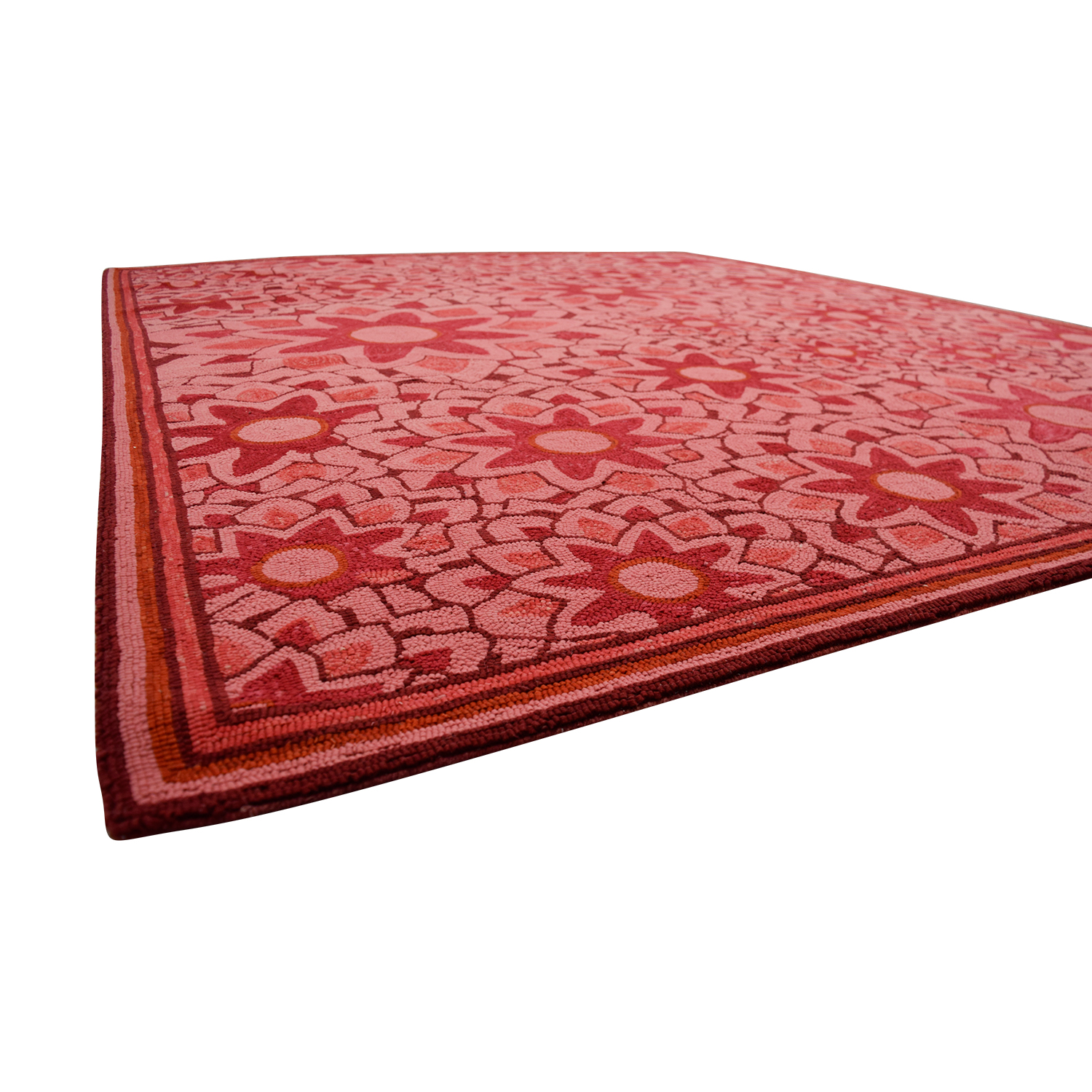 Obeetee Obeetee Hand Hooked Red Floral Rug