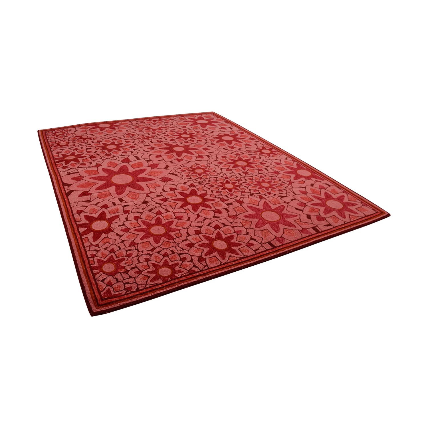buy Obeetee Hand Hooked Red Floral Rug Obeetee