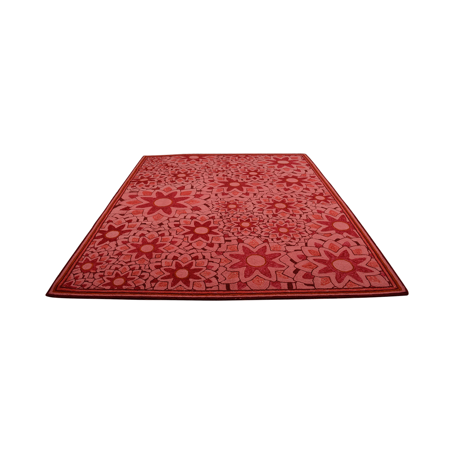 Obeetee Obeetee Hand Hooked Red Floral Rug for sale