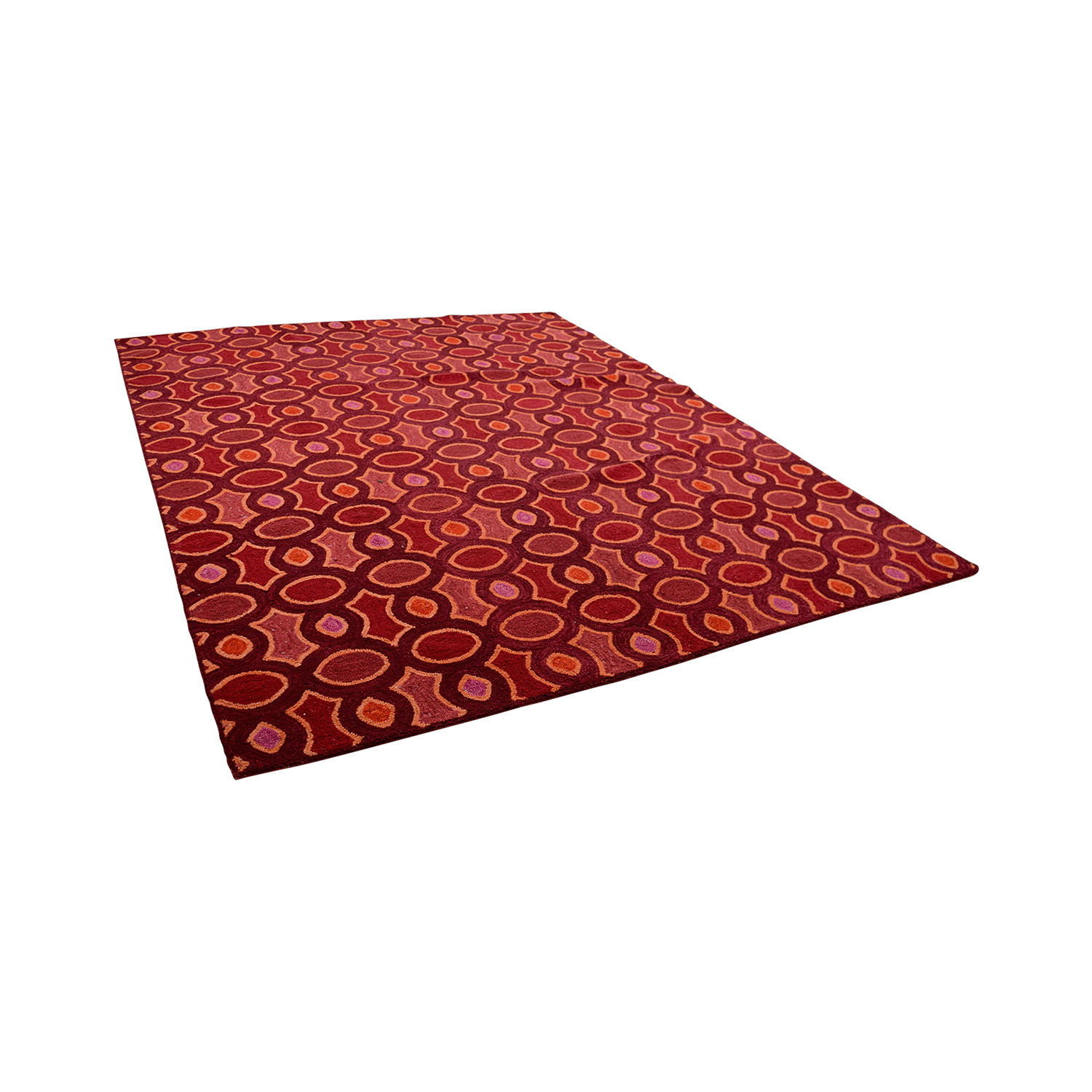 Obeetee Obeetee Hand Hooked Red Pink Orange Rug
