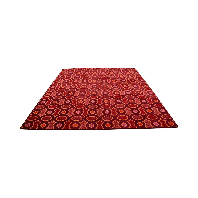 buy Obeetee Obeetee Hand Hooked Red Pink Orange Rug online