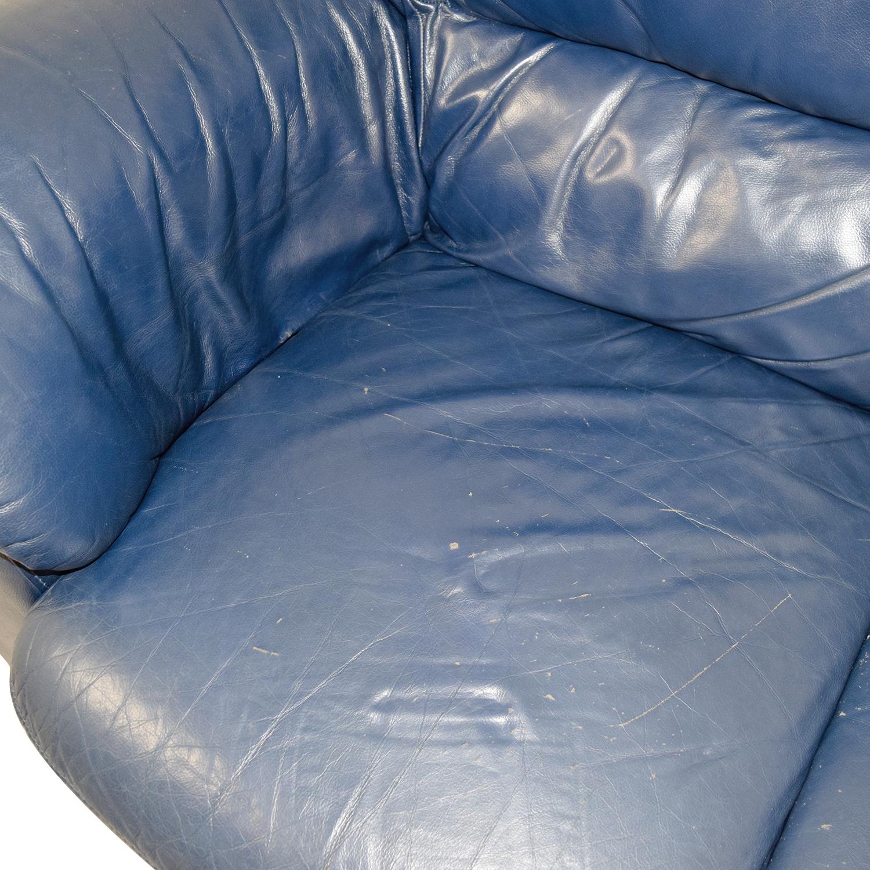 Macys Macys Navy Blue Leather Loveseat coupon