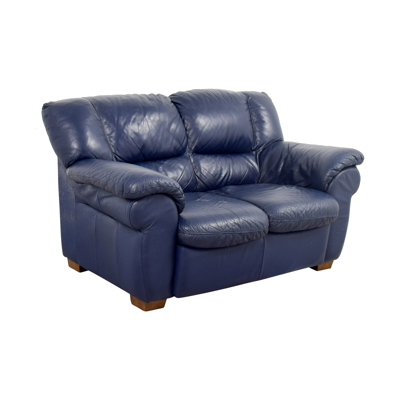 Macys Macys Navy Blue Leather Loveseat on sale