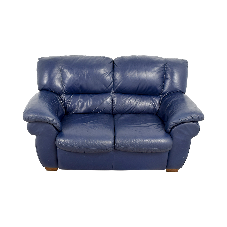 Macys Macys Navy Blue Leather Loveseat Loveseats