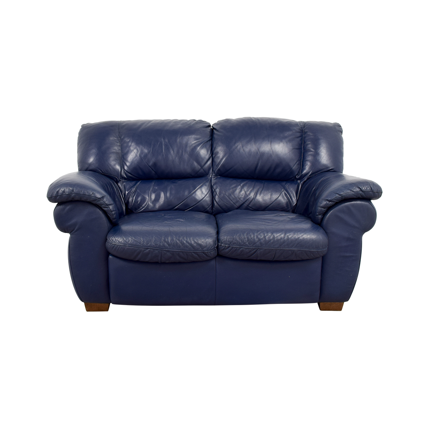 80% OFF - Macy\'s Macy\'s Navy Blue Leather Loveseat / Sofas