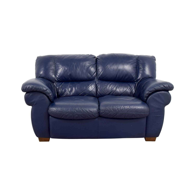 Macys Macys Navy Blue Leather Loveseat discount