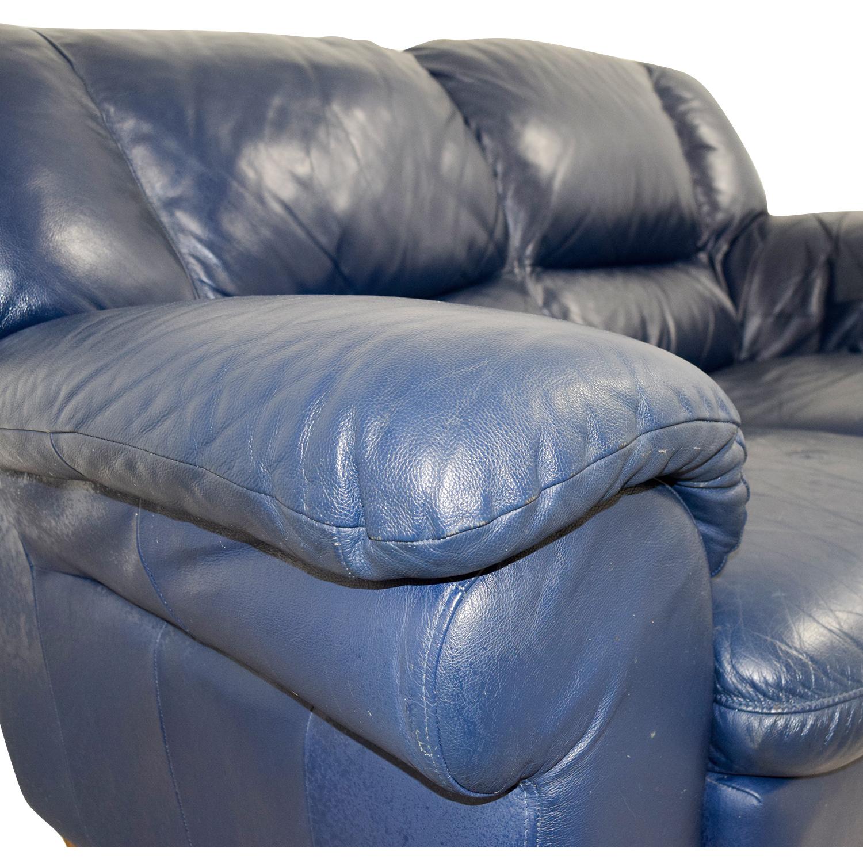 Macys Navy Blue Leather Loveseat Macys