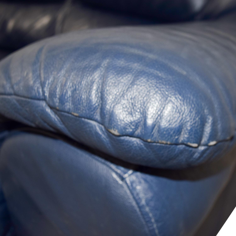 Macys Macys Navy Blue Leather Loveseat