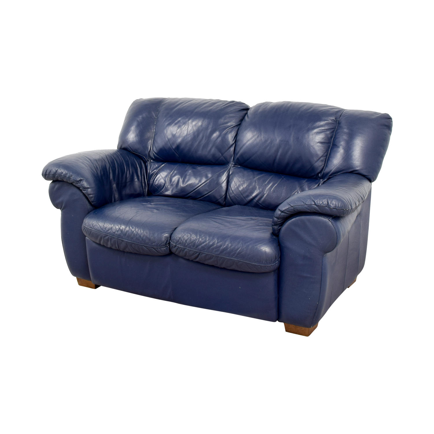 80 Off Macy 39 S Macy 39 S Navy Blue Leather Loveseat Sofas