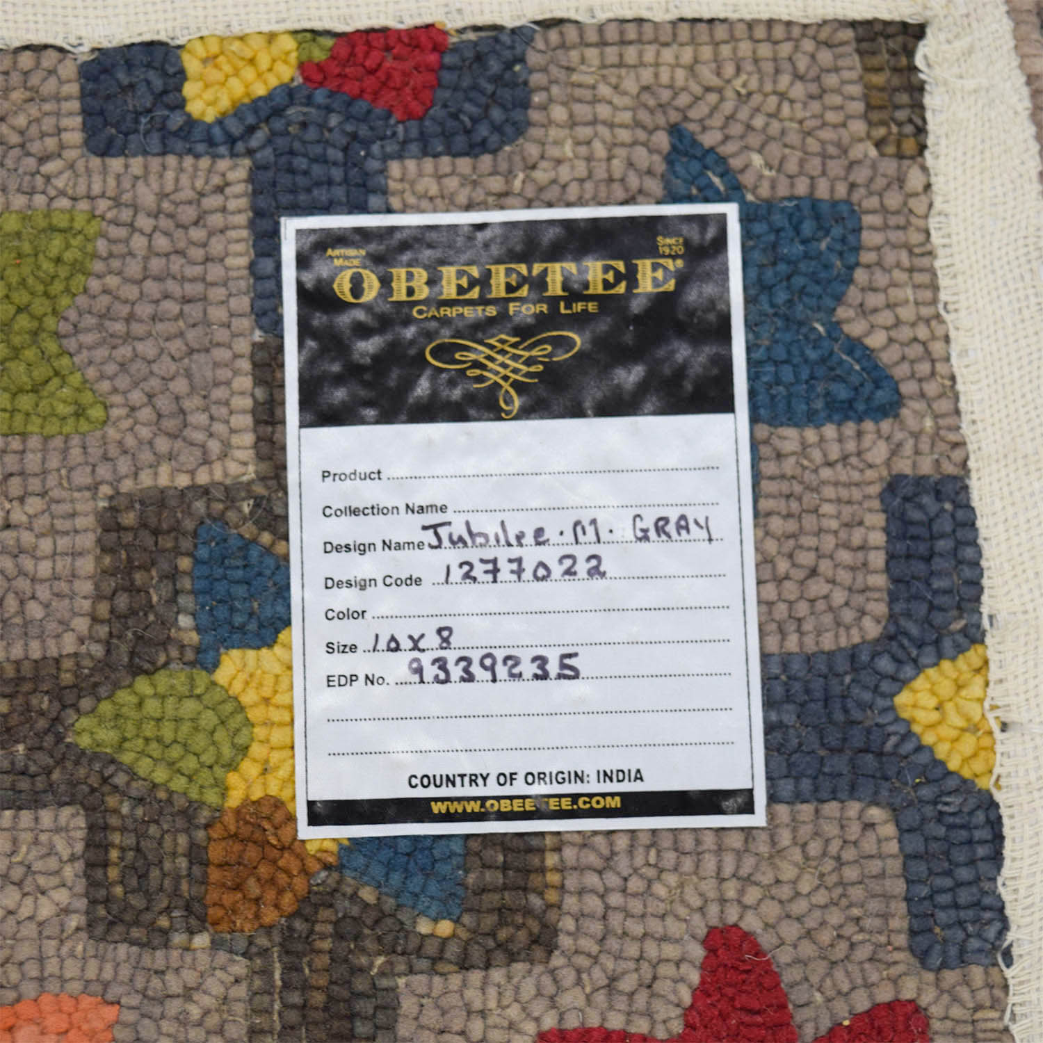 Obeetee Obeetee Hand Hooked Multi Colored Floral Rug for sale