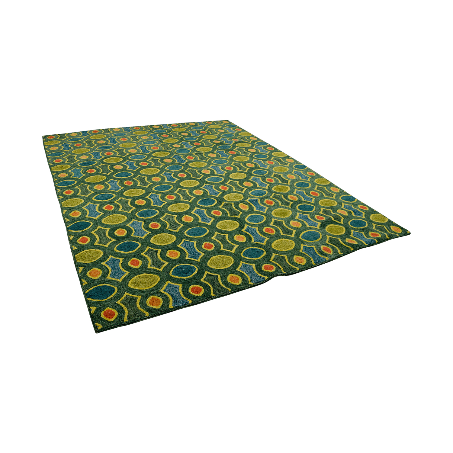 Obeetee Obeetee Hand Hooked Green Orange Blue Rug for sale