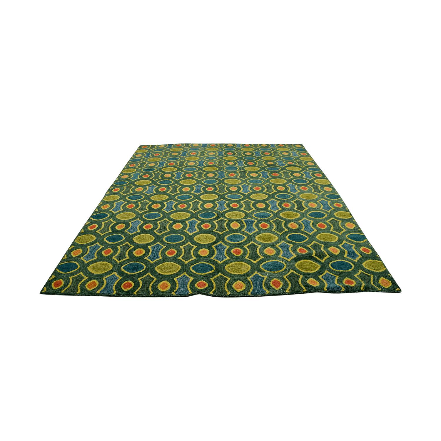 Obeetee Hand Hooked Green Orange Blue Rug / Rugs