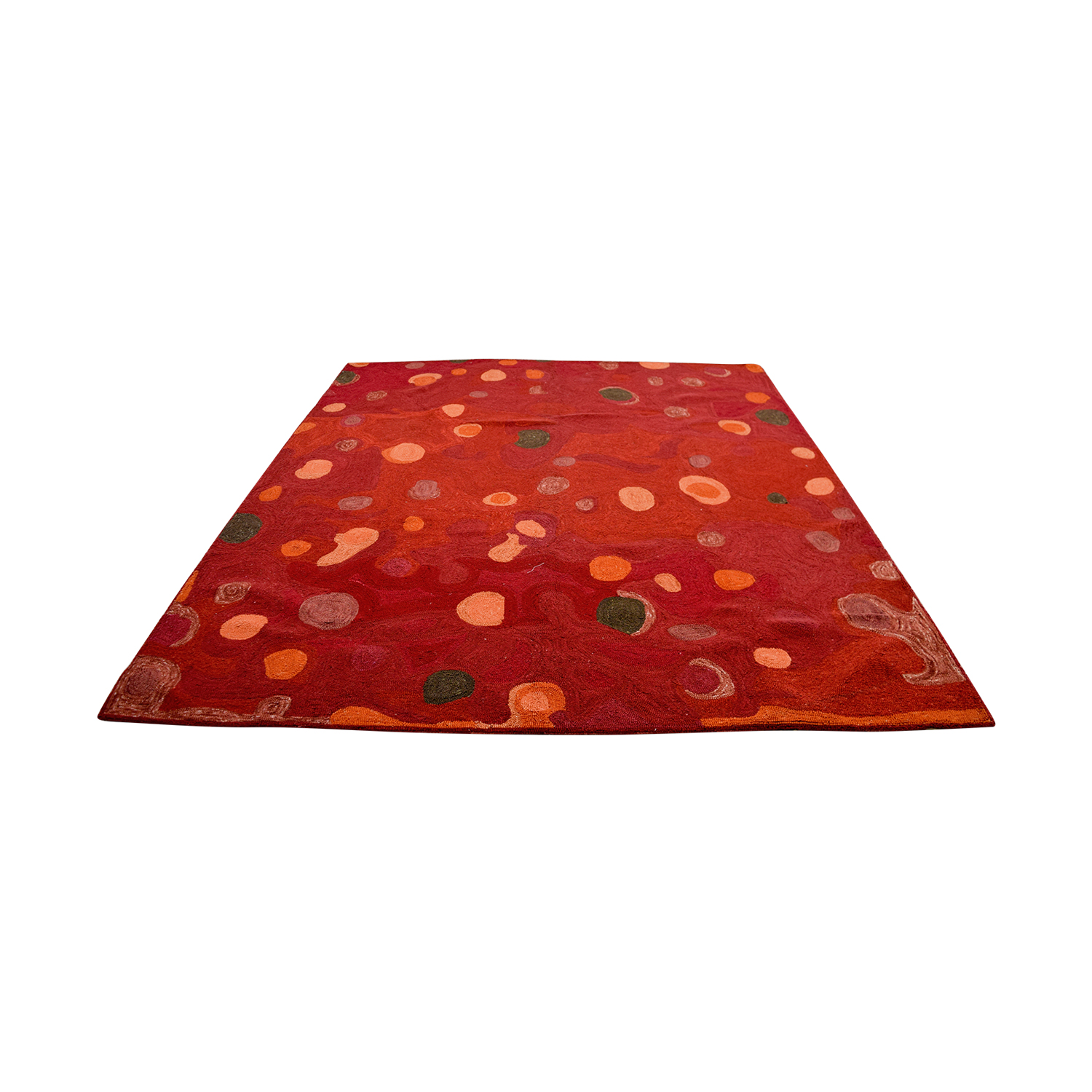 Obeetee Obeetee Red with Colored Spots Rug