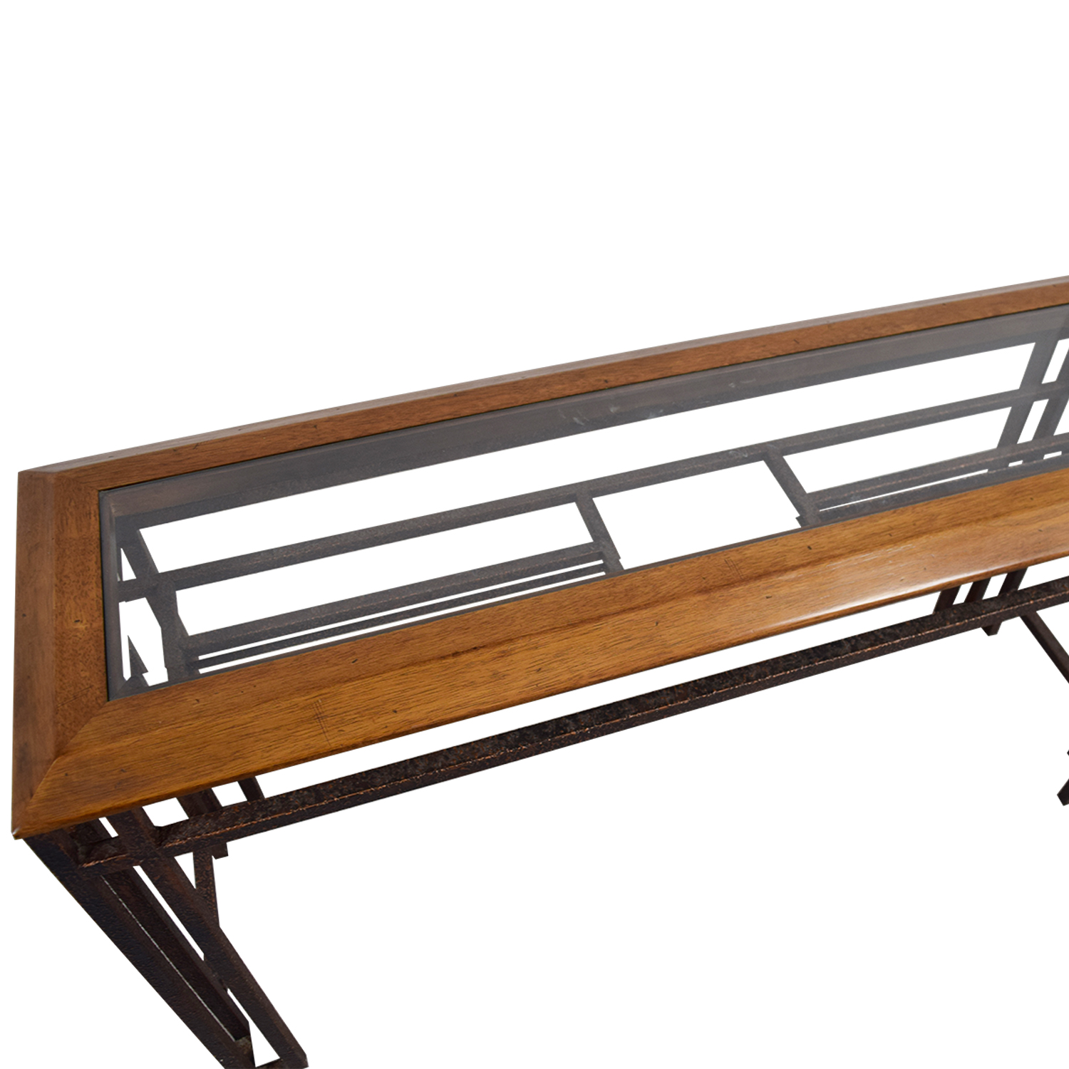 Rustic Brass Wood and Glass Console Table Pine Wood