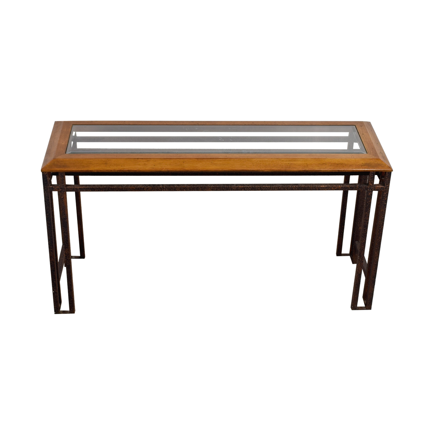 Rustic Brass Wood and Glass Console Table Accent Tables