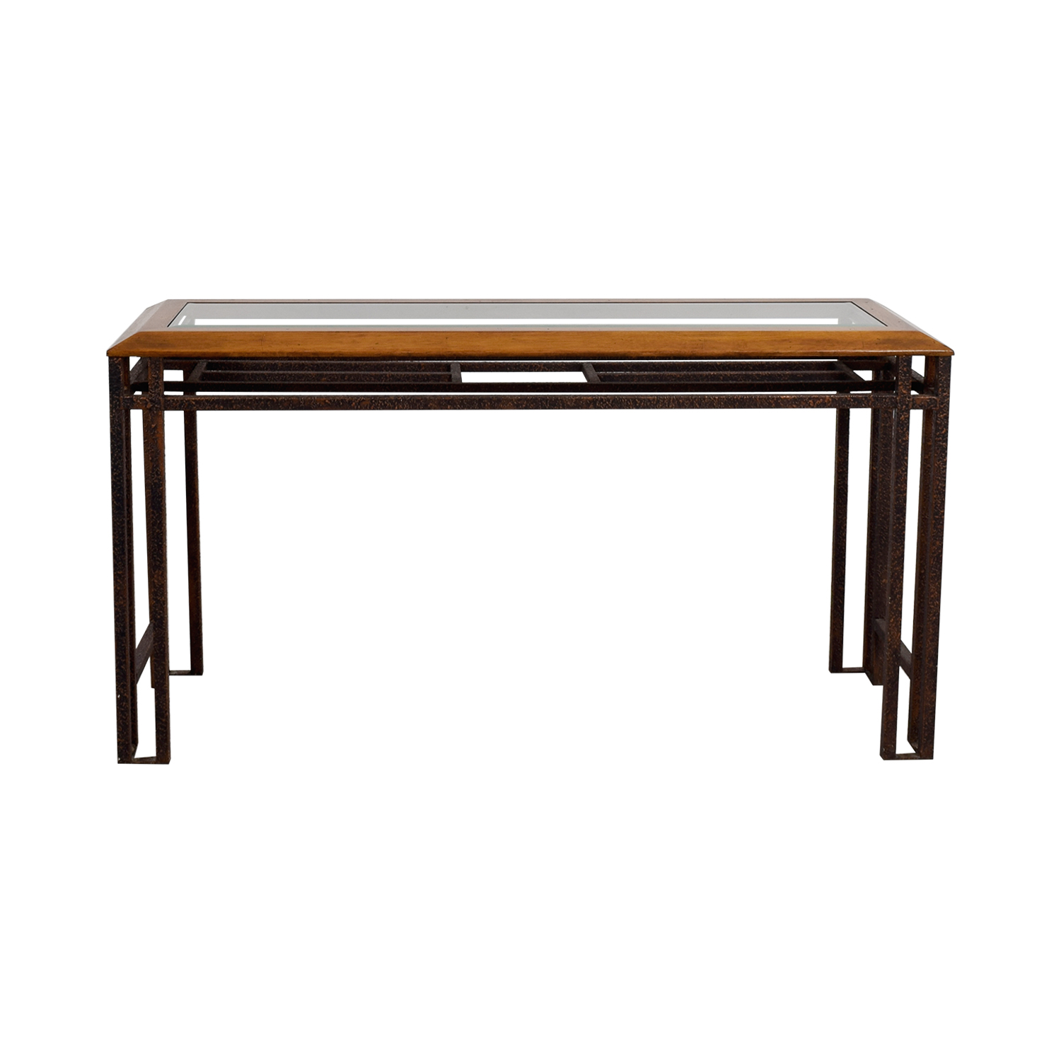 Rustic Brass Wood and Glass Console Table sale
