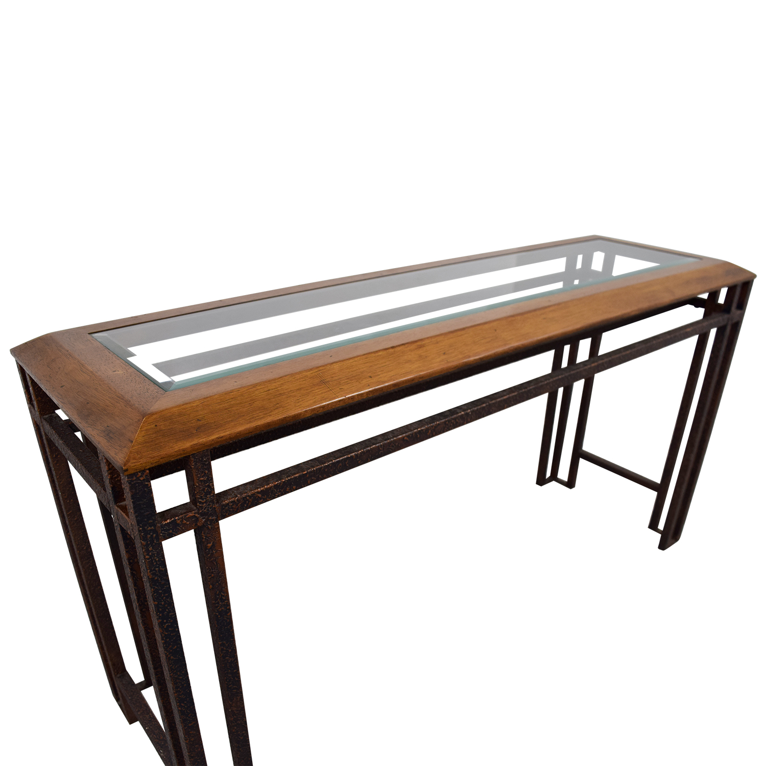 Rustic Brass Wood and Glass Console Table on sale