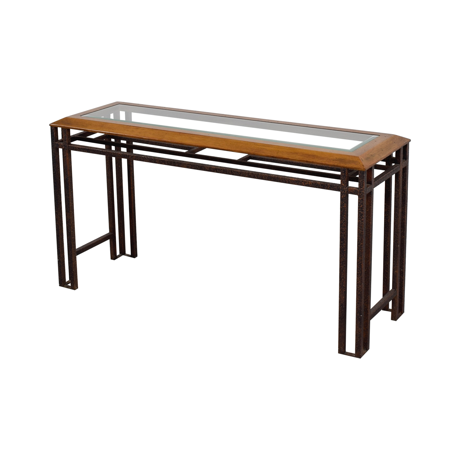 Rustic Brass Wood and Glass Console Table price