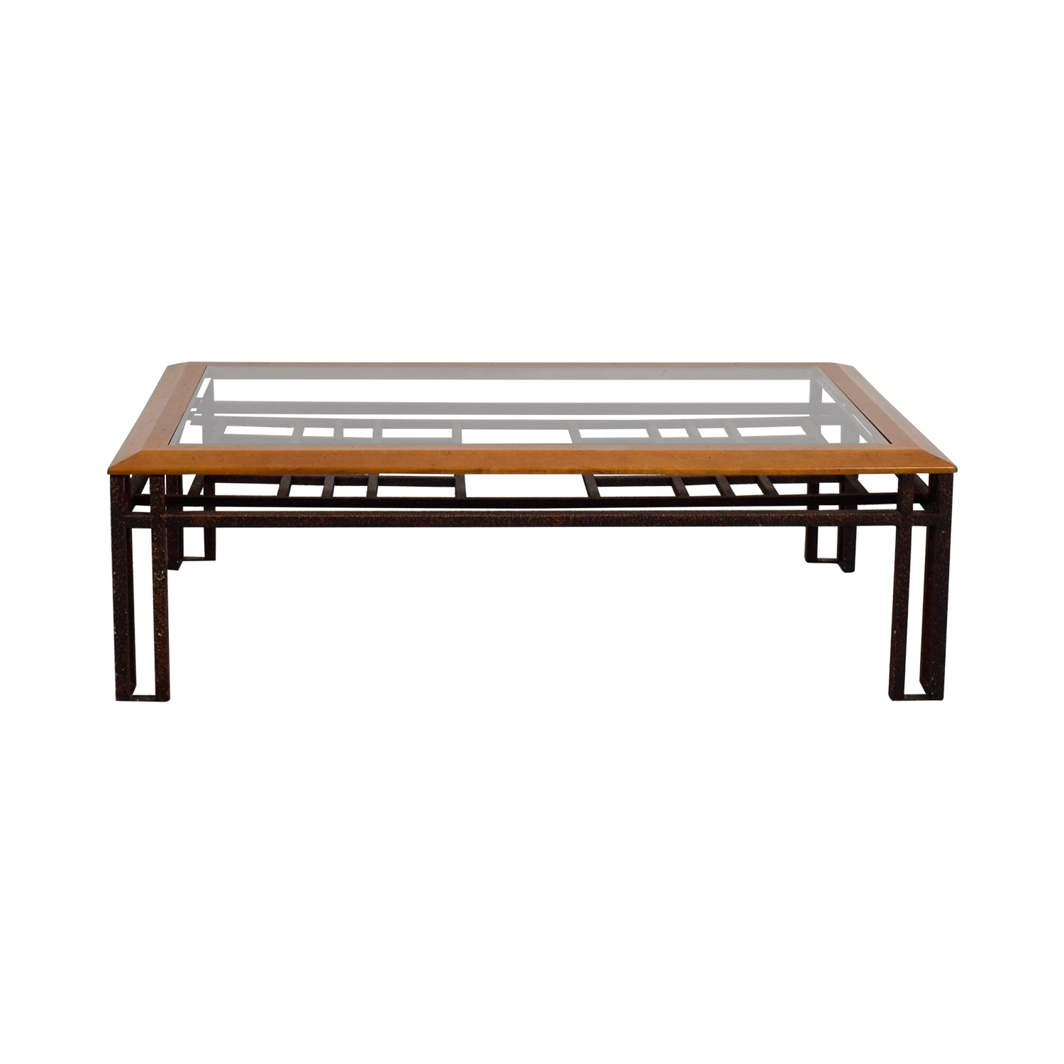 Brass Wood and Glass Coffee Table Tables