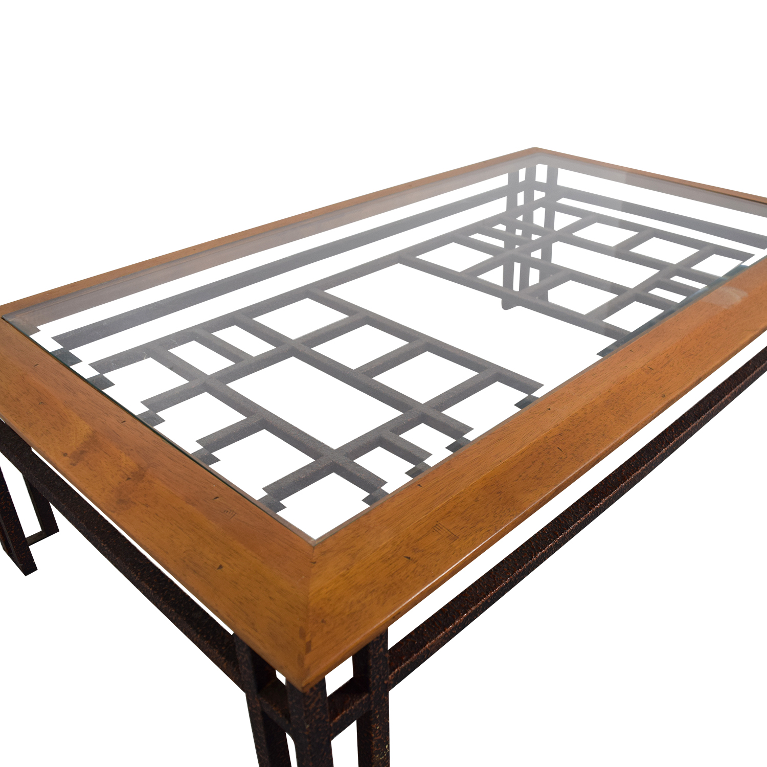 Brass Wood and Glass Coffee Table / Tables