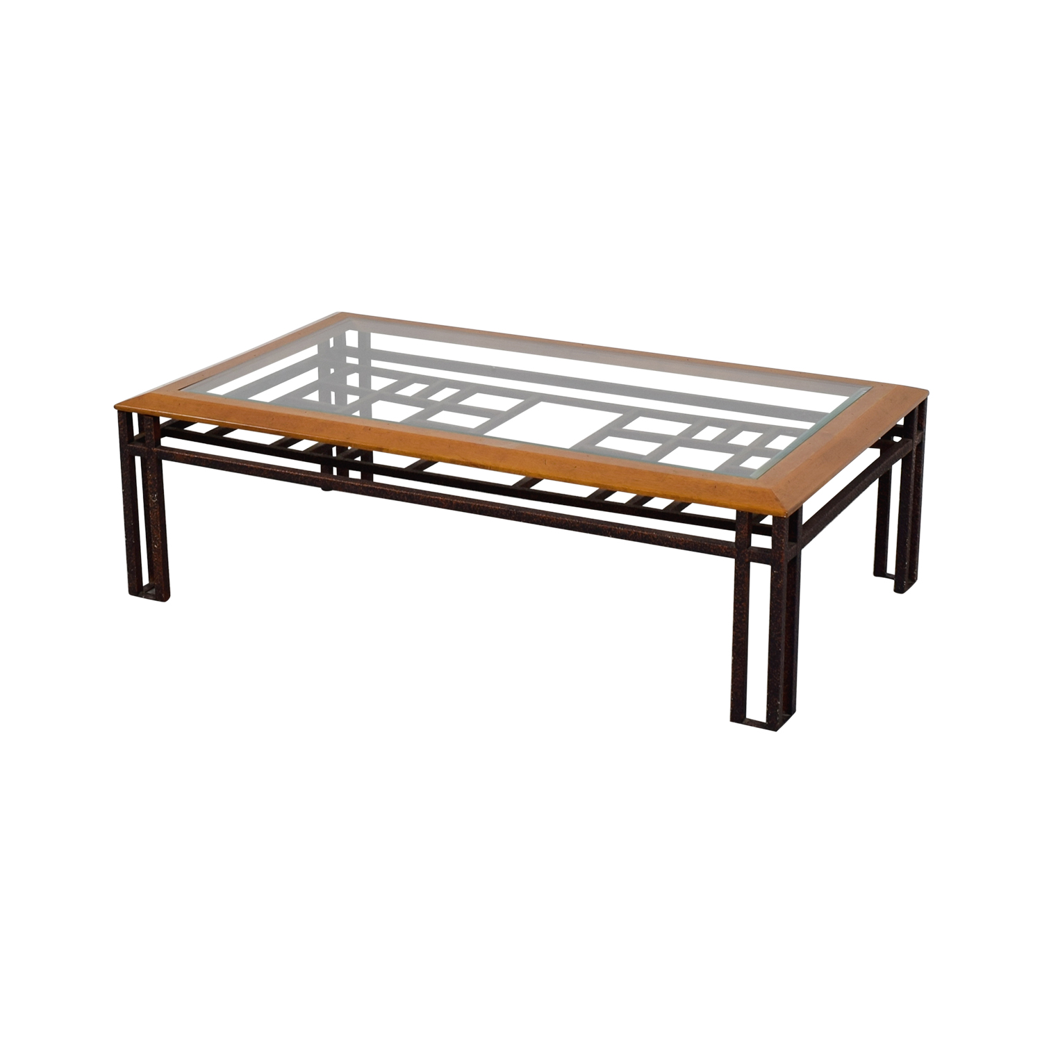 Brass Wood and Glass Coffee Table