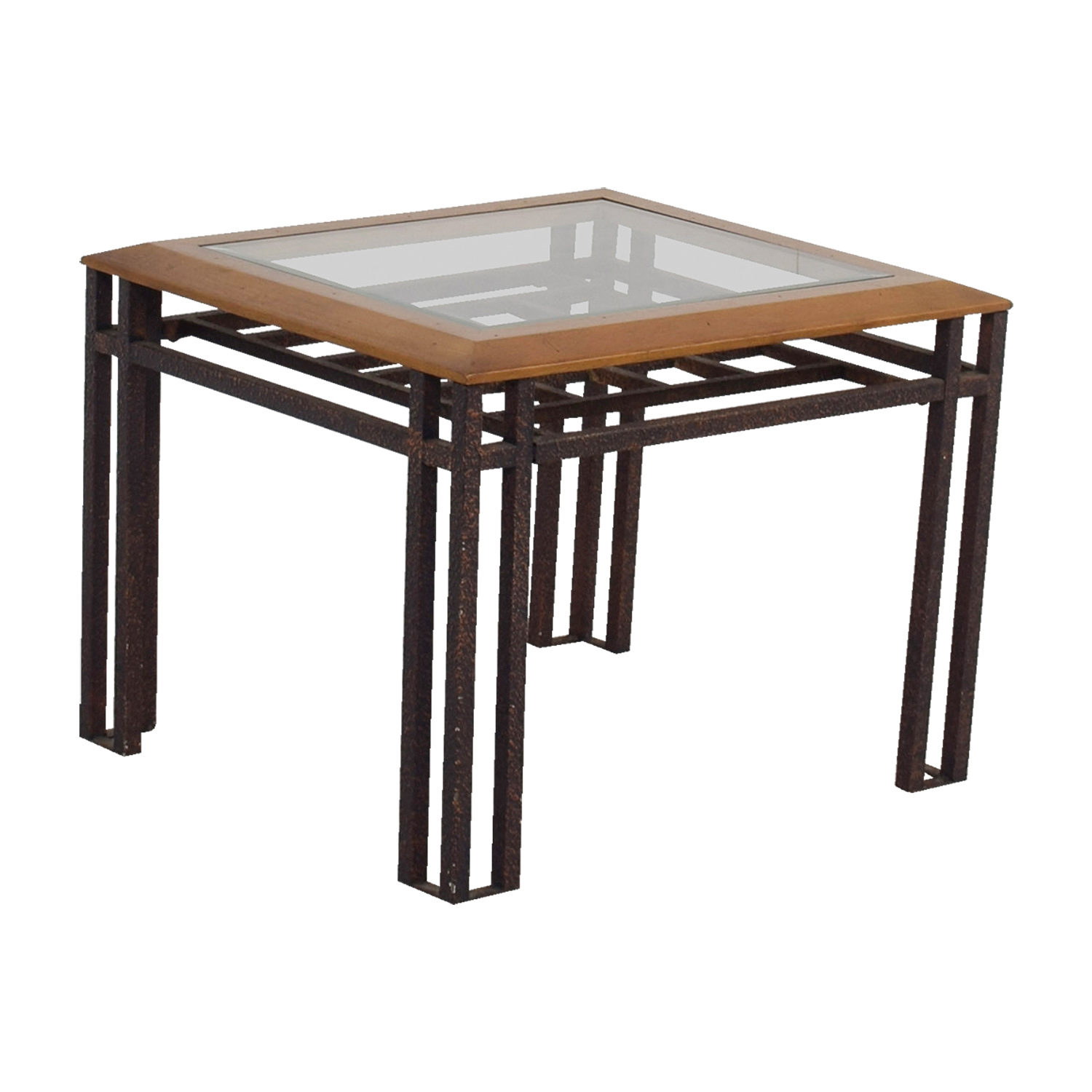 buy Rustic Brass Wood and Glass End Table