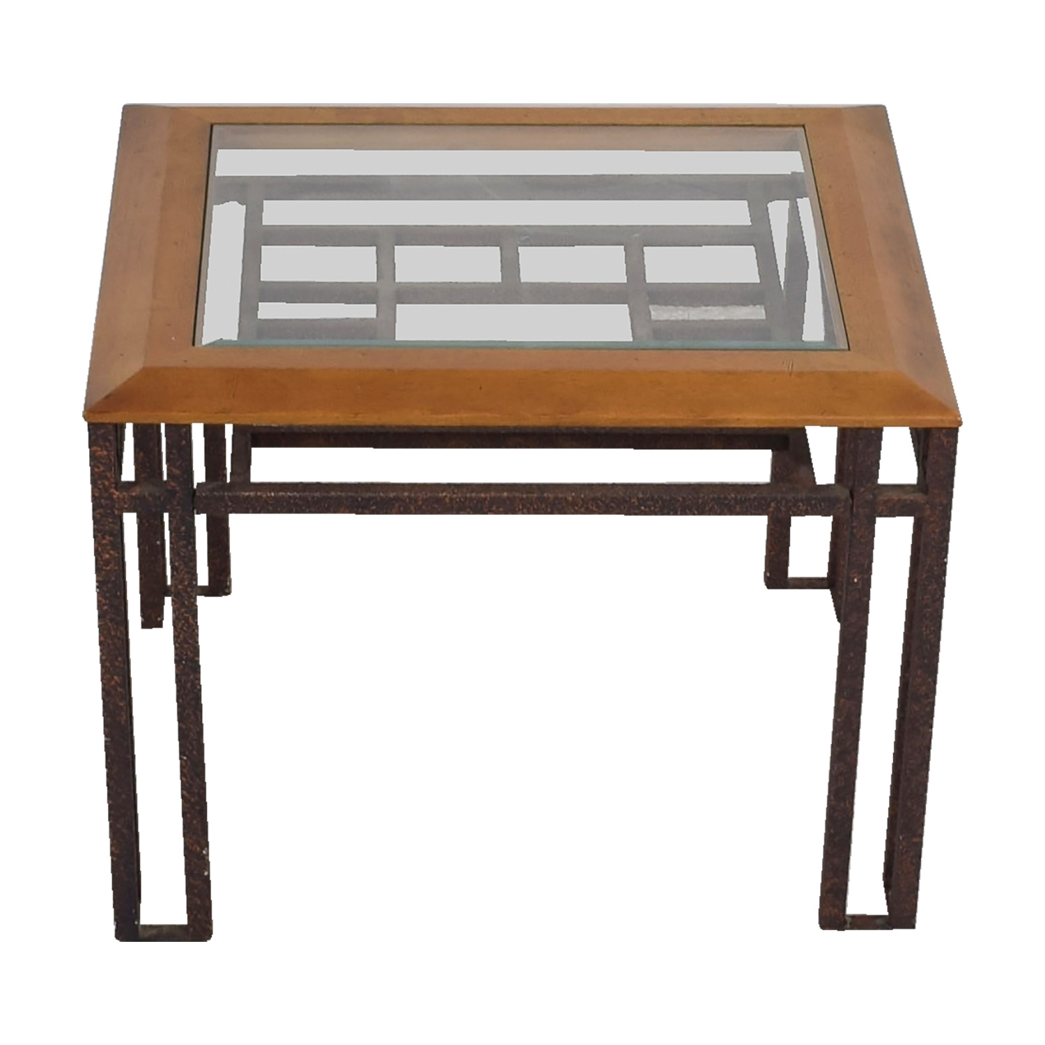 shop Rustic Brass Wood and Glass End Table End Tables
