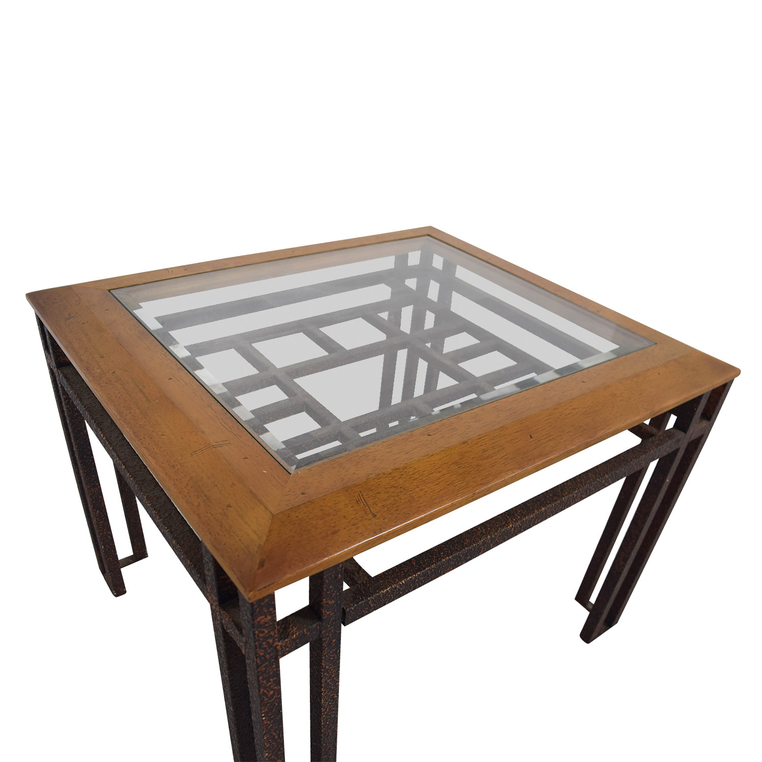 buy Rustic Brass Wood and Glass End Table online