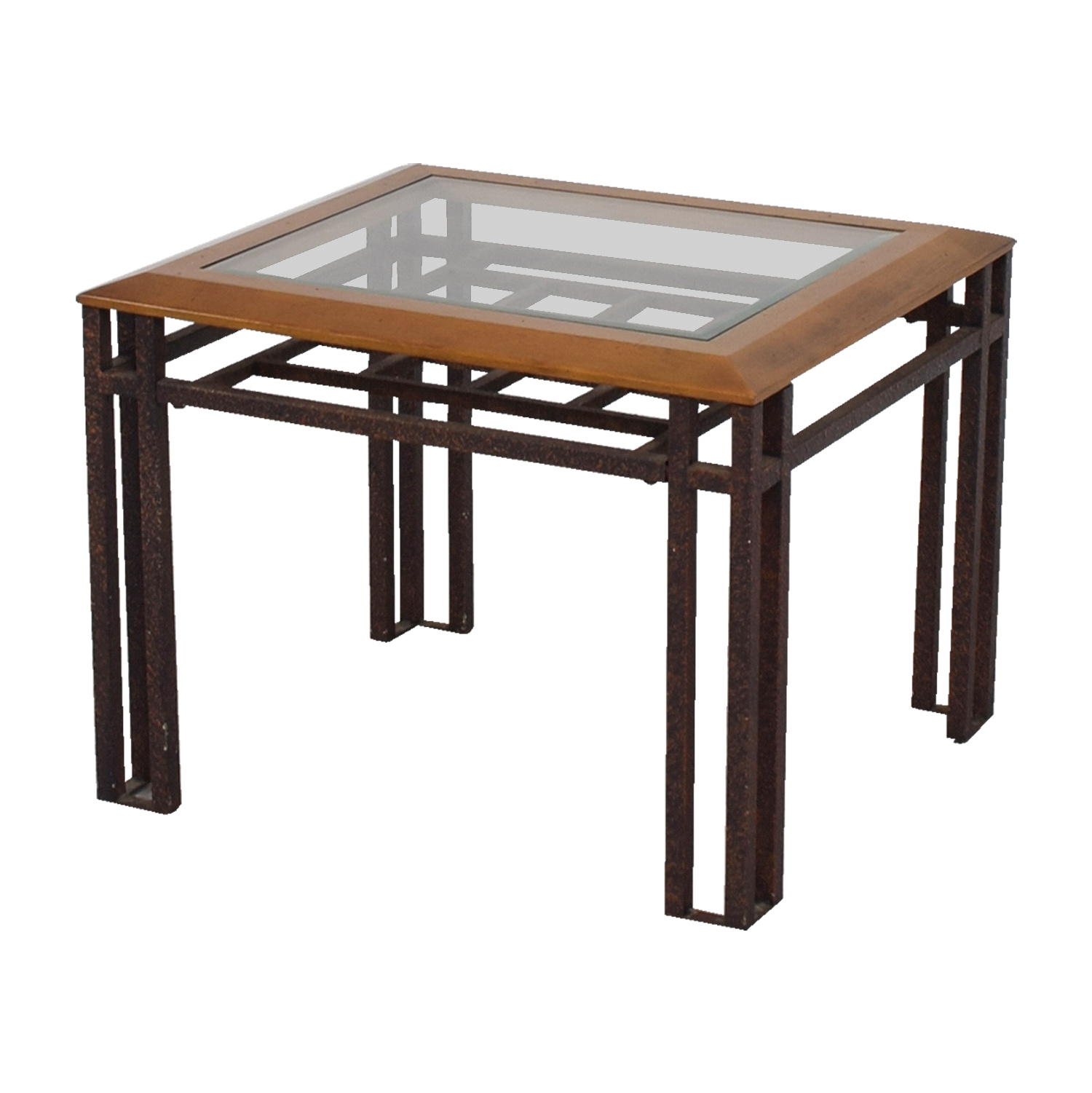 88 off rustic brass wood and glass end table tables. Black Bedroom Furniture Sets. Home Design Ideas