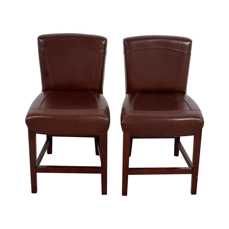 buy Crate & Barrel Crate & Barrel Brown Leather Bar Stools online
