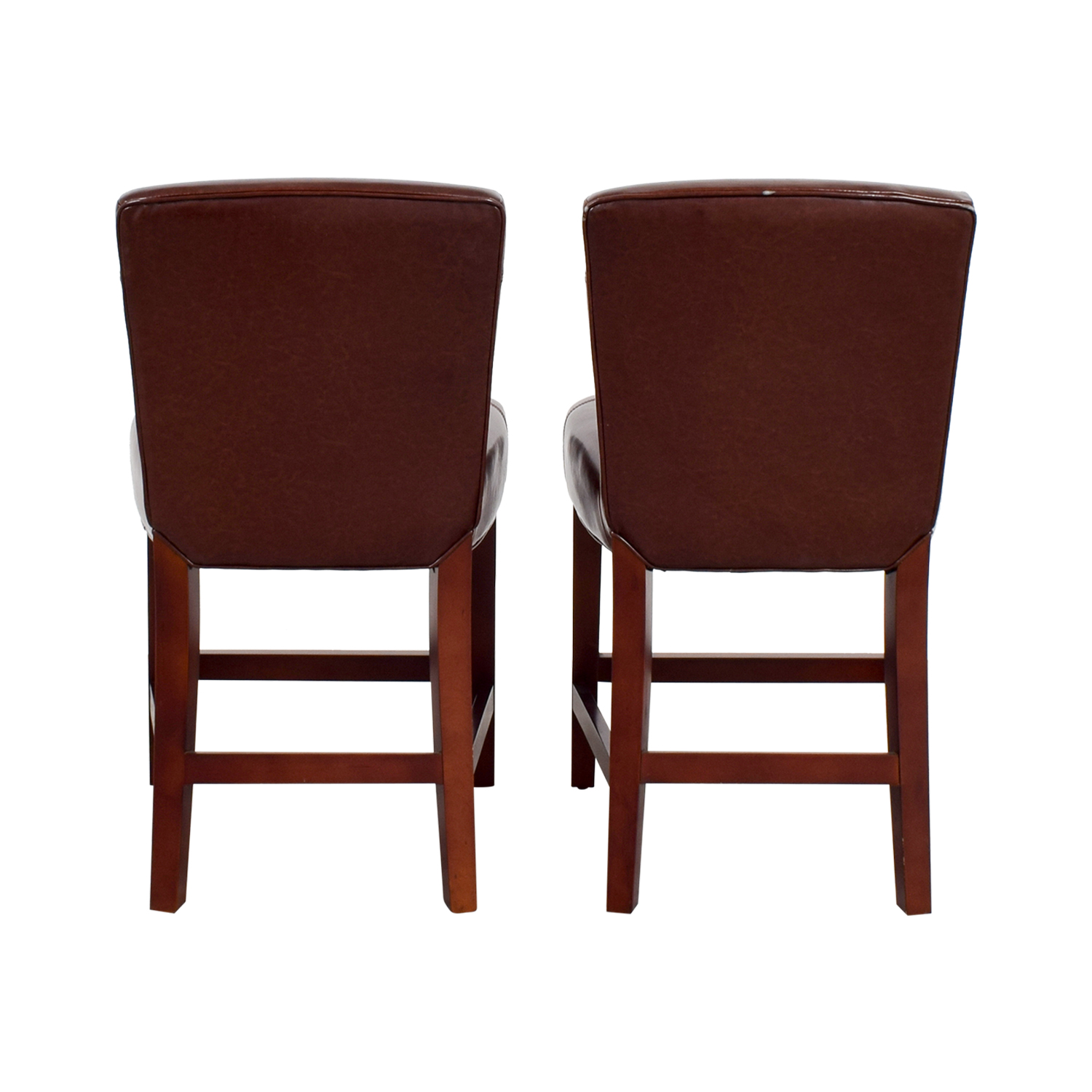 Swell 90 Off Crate Barrel Crate Barrel Brown Leather Bar Stools Chairs Machost Co Dining Chair Design Ideas Machostcouk