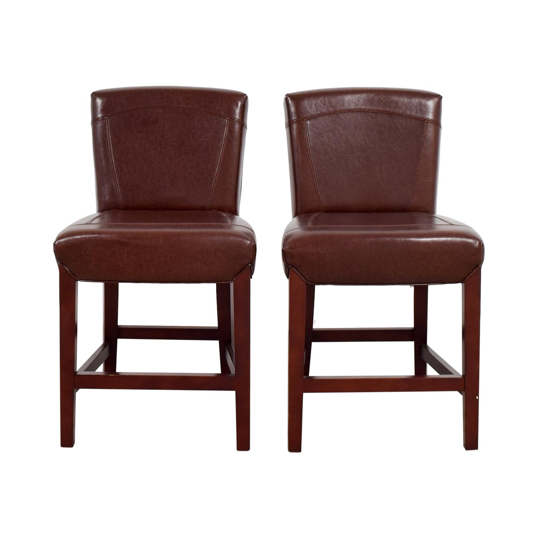 shop Crate & Barrel Crate & Barrel Brown Leather Bar Stools online