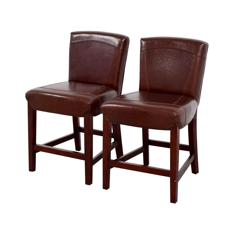 buy Crate & Barrel Brown Leather Bar Stools Crate & Barrel Stools