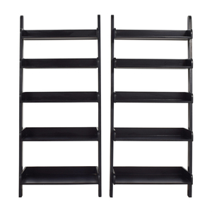 Crate & Barrel Crate & Barrel Five-Shelf Black Wood Leaning Bookcases used