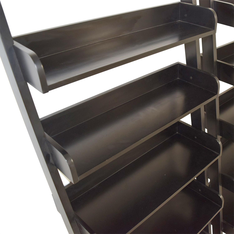 shop Crate & Barrel Five-Shelf Black Wood Leaning Bookcases Crate & Barrel Bookcases & Shelving