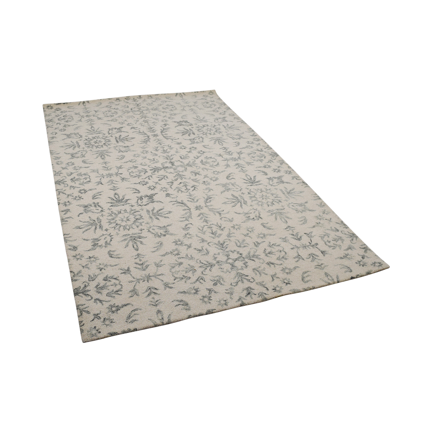 Obeetee White and Light Gray Rug Obeetee