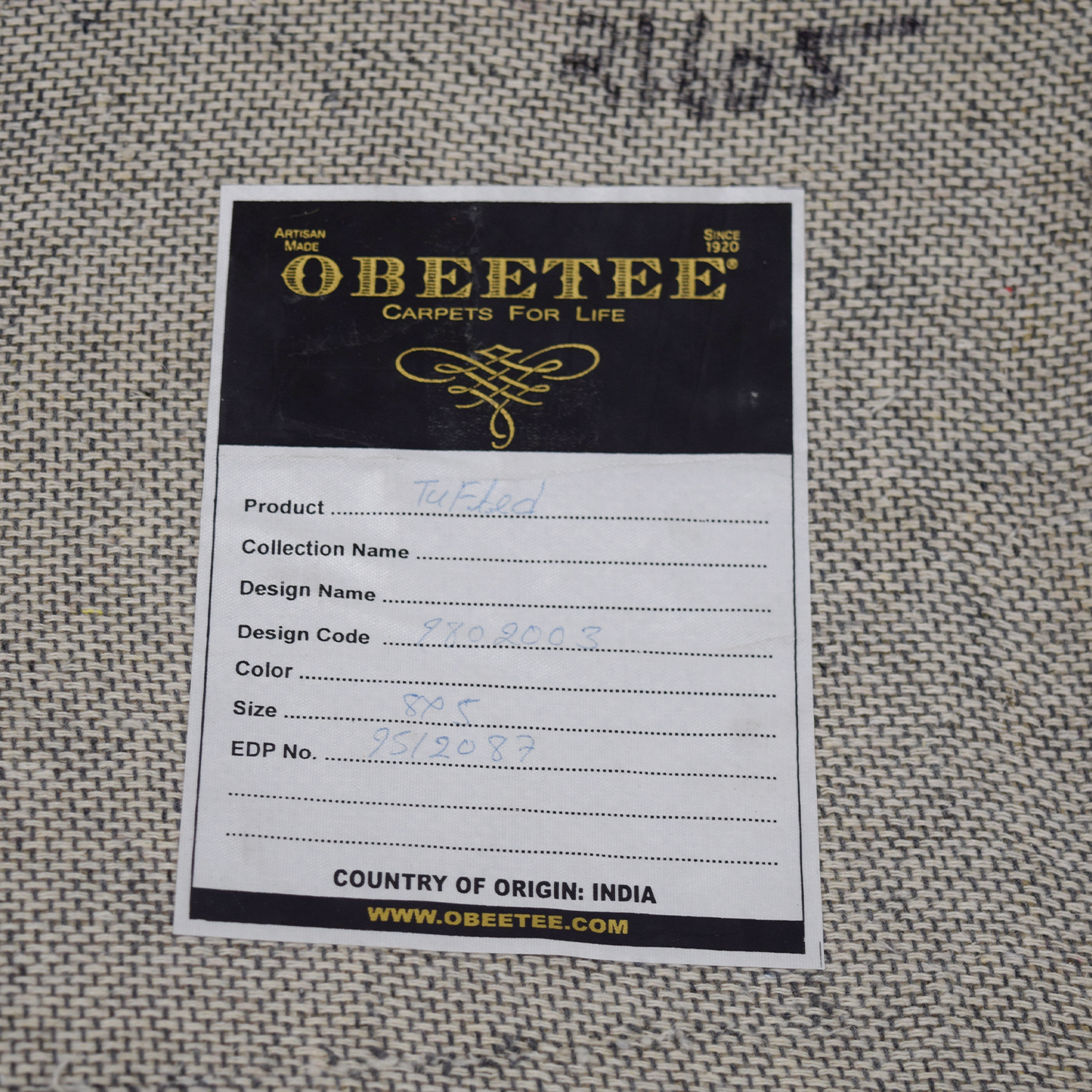 Obeetee Obeetee White and Light Gray Rug dimensions
