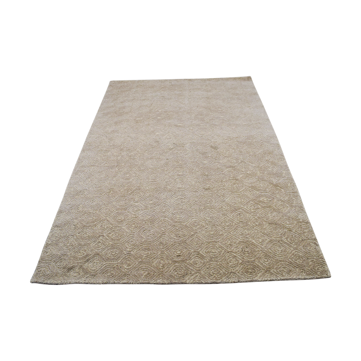 Obeetee Off White with Spiral Design Rug / Rugs