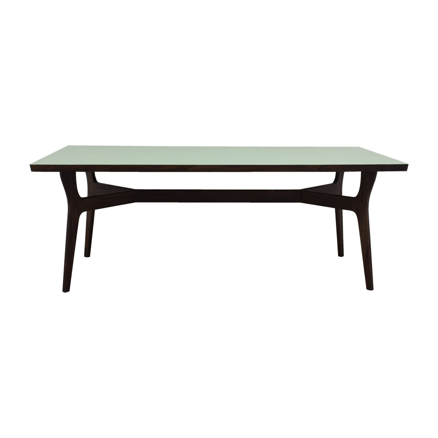 Wood and Teal Dining Table for sale