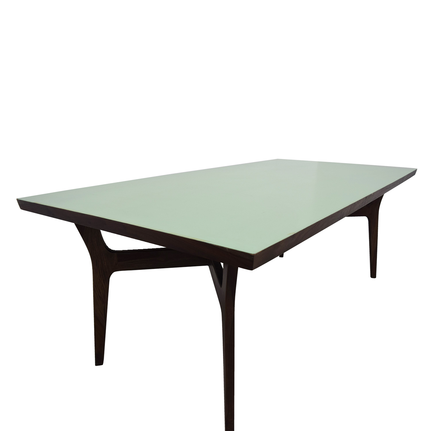 Wood and Teal Dining Table