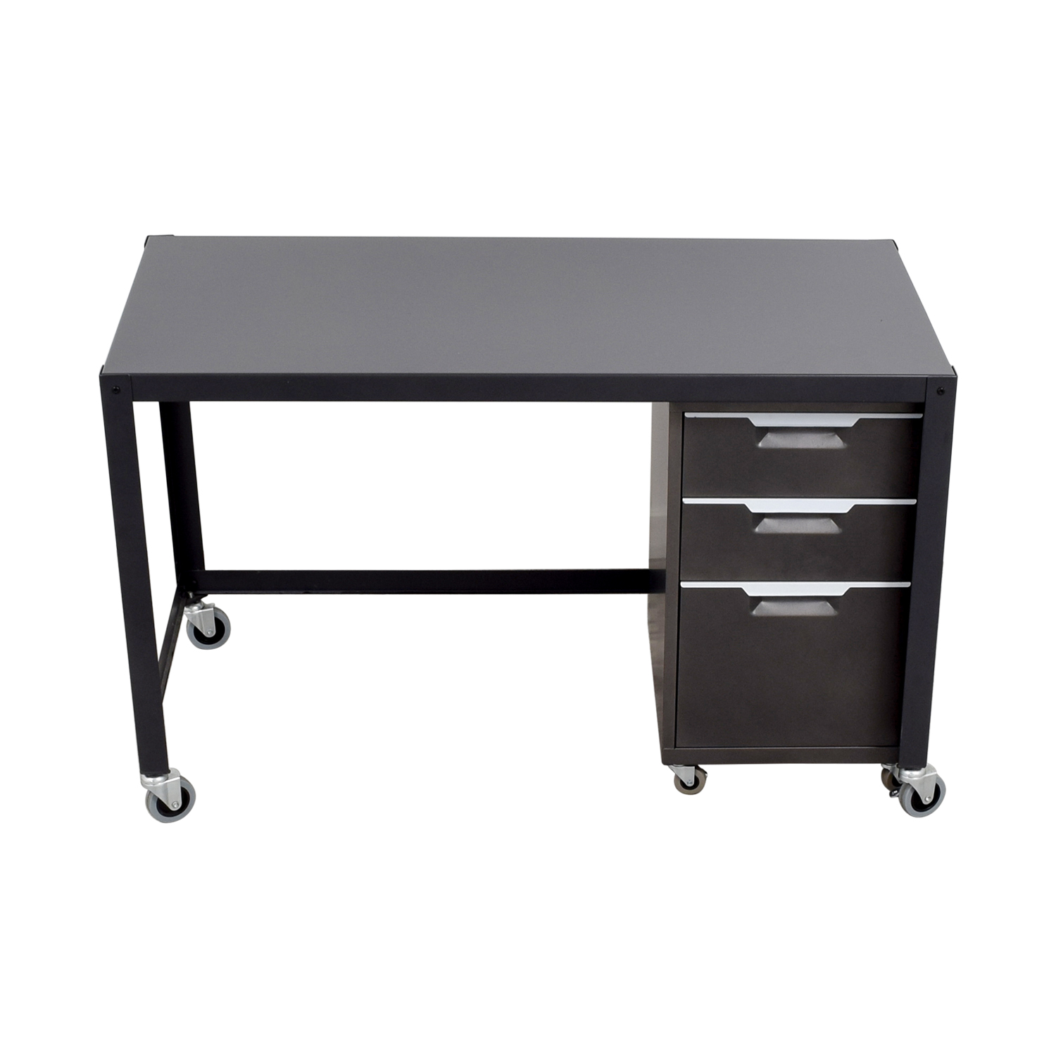 69% OFF - Metal Desk on Castors with Filing Cabinet / Tables