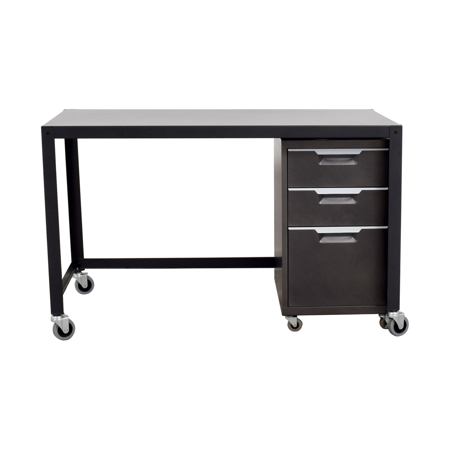 Metal Desk on Castors with Filing Cabinet / Home Office Desks