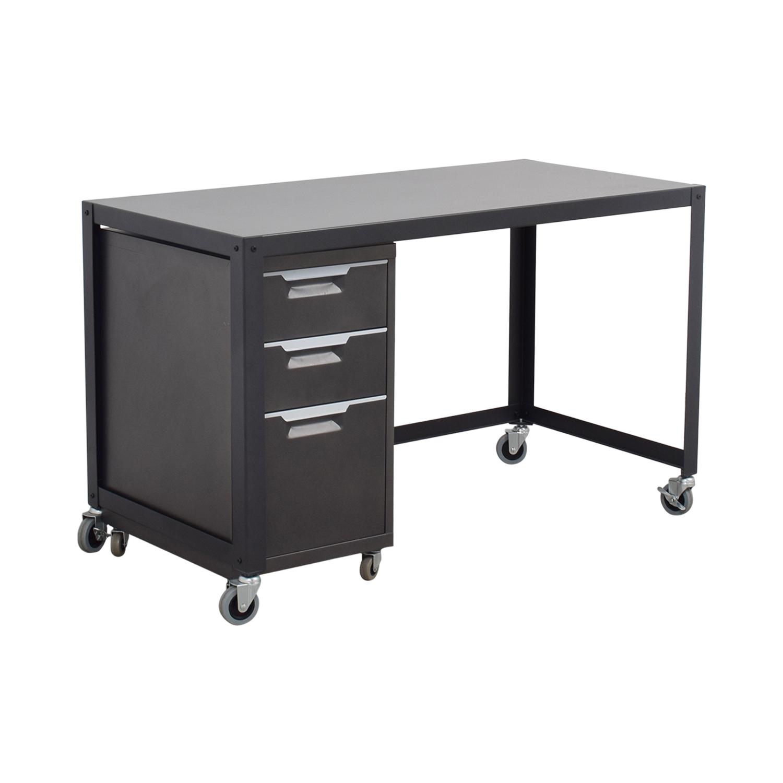 90 off metal desk on castors with filing cabinet tables. Black Bedroom Furniture Sets. Home Design Ideas
