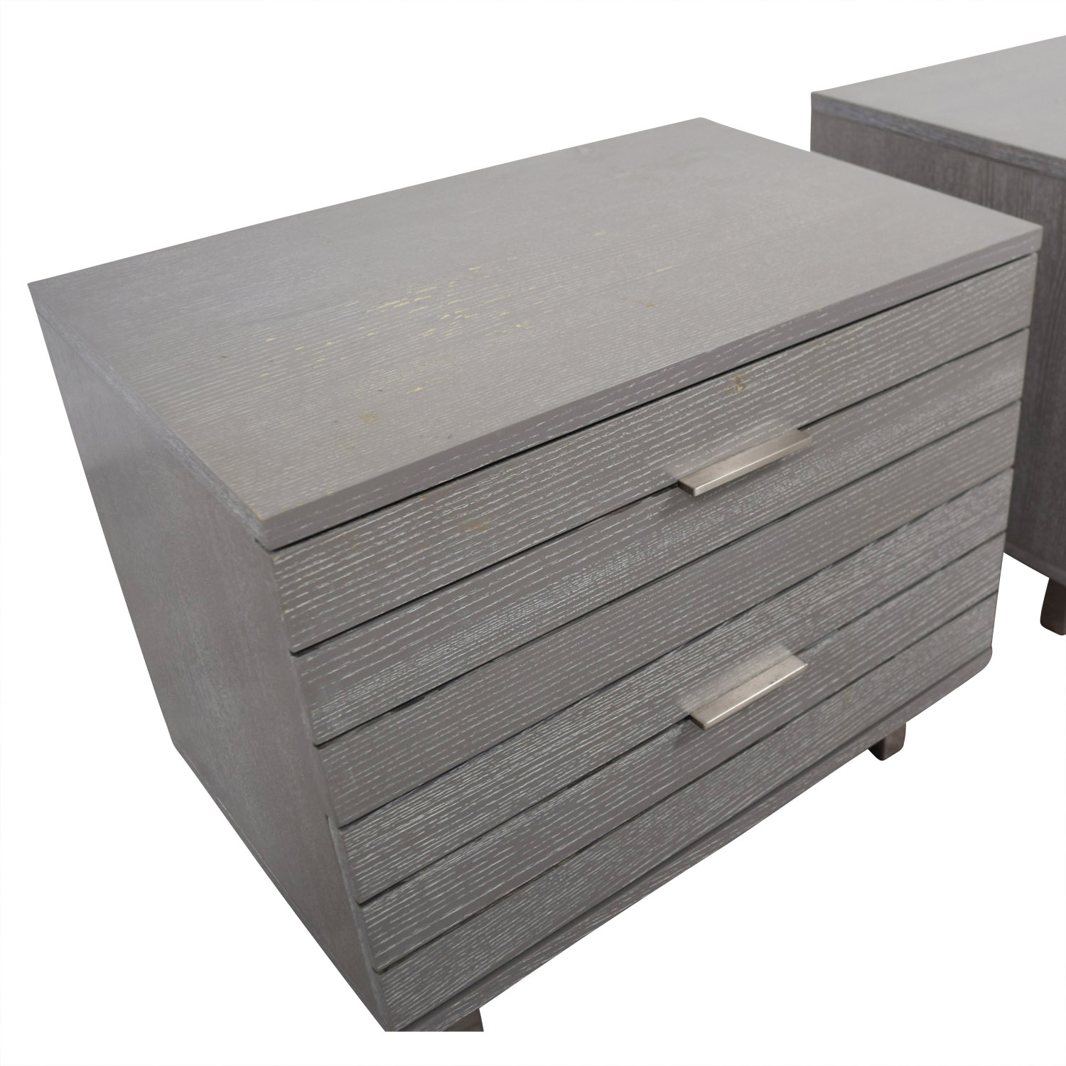 CB2 CB2 Grey Two-Drawer Night Stands dimensions